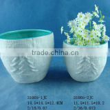 Porcelain round plant pot for indoor decoration
