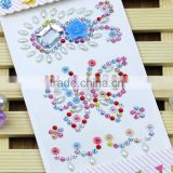 Hot Sale Self Adhesive Multi-Color Shaped Acrylic Sticker Bling Resin Butterfly/Flower Rhinestone Stickers For Decorations
