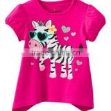 girls summer fashion new brand Jumping beans t-shirts kids hot pink with zebra cartoon O-neck T shirts