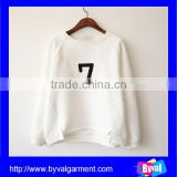 OEM Cheap Cotton Number Printing White Pullover Hoodies Without Hood For Woman