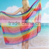 New chiffon Sarong pareo beach scarf rayon pprinted long scarves ethnic cotton printed floral beachwearr women fringes sarongs