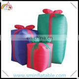 Hot sell inflatable christmas gift, santa gift, inflatable led lighted present for outdoor decoration