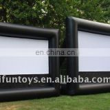 Black inflatable movie screen+screen projector
