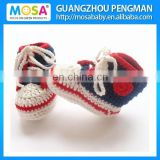 Baby Shoes (Blue and Red white ) Crocheting Children Sports Shoes for Girls and Boy. Knit baby booties. Baby shower gift