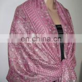 pashmina made by 100% polyester with silver thread