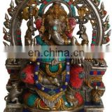 "Indian GOD Ganesha Rat On Throne 18.5"" Large Brass Stone Statue Figure Hindu Art 18 KG Sculpture Ganesha Religious Statue Art"