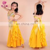 Latest party Performance cheap indian children belly dance costume with bra and belt and long skirt ET-071