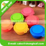 Pet dog Travel bowls folding Silicone bowls with cover