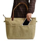 handmade khaki canvas tote bag messenger bag shoulder bag