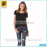 Lady Casual Fashion Black Rib Short Sleeve T-shirt 2016