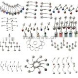 Hot 100% 316l surgical stainless steel titanium body piercing jewellery micro rhinestons nose eyebrow piercing