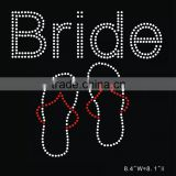 Bride Flips Flops Hotfix diamond rhinestone iron on transfer for shirt