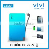 vivi power bank battery charger 5000mah dual usb and built in charging cable powerbank for digital products