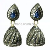 Classy Jhumka !! Blue Sapphire & Diamond 925 Sterling Silver Earring, Indian Fashion Jewelry Supplier, Silver Jewelry