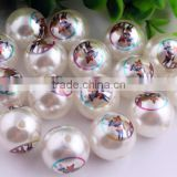 2016 New Arrive Chunky Acrylic 20mm Pearl Print Cartoon Character Bubblegum Ball Beads For Kids Necklaces Making!!