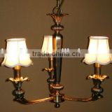 three arms brass pendent light with fabric shade simple for lobby                                                                         Quality Choice