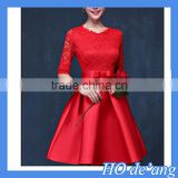HOGIFT lace dress Sleeve fashion wedding dress,red cocktail evening dress,Waist princess dress