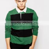 Heavyweight Pique Cotton Custom Long Sleeve High Quality Polo T Shirt Strip Men Polo shirt