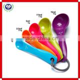 5 Piece with Carved Measure Color Spoon Plastic Kitchen Baking Tools