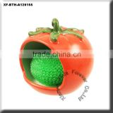 unpainted ceramic tomato kitchen scrubby holder