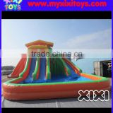 XIXI inflatable water slide with big pool,inflatable water slide with basketball hoop