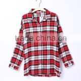 Women fashion long sleeve red plaid shirt