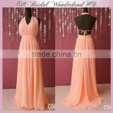 Brazilian long backless pink chiffon evening dress