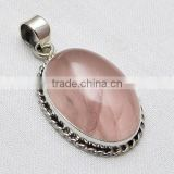 Heart Of Rose !! Pink Rose Quartz 925 Sterling Silver Pendant, Unique Silver Jewelry, Silver Jewelry India