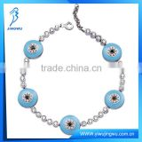 Hot Fashion Tennis Design Silver Baby Blue Evil Eye Bracelet