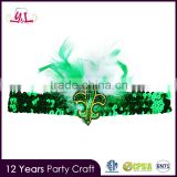 wholesale fleur de lis St. Patrick's Day Stretchy Feather Headband with Sequin Applique ballet stretch band