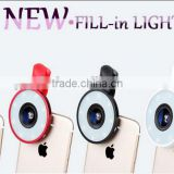 Manufacturer Directly sale 6in1 Led Fisheye Lens Clip+ Wide Angle + Macro Lens photo Kit Set for Selfie for iPhone&android