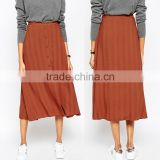 Wholesale Crape Polyester latest fashion Buttons high waisted women long umbrella skirt 2016