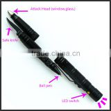Black classic tactical self-defense ball pen with LED light and knife for protection