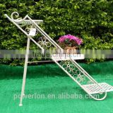 POWERLON Vintage Shabby chic 3 tiers stair metal plant stand outdoor furniture garden sets