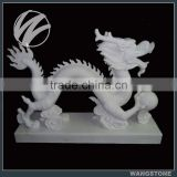 Outdoor Chinese Style White Stone Dragon Statue