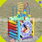 2017 wholesale multi-function toddlers wooden bead activity table new design funny kids wooden bead activity table W11B137