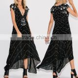 Boho Clothing Chiffon Maxi Embroidered And Beaded Dress Ladies Fashion Dresses With Pictures 2016 HSD5815