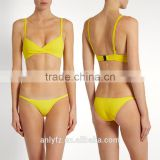 Anly Wholesale Ladies Skinny Shoulder Straps Yellow Stretch Seersucker Swimsuit