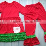 Santa claus pattern Christmas girls outfits wholesale boutique clothing china children ruffle dresses set