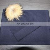 navy color plain cashmere beanie hat & scarf with raccoon fur pom pom