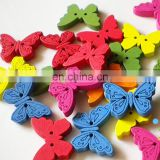 Wholesale 2 Hole Buttons Butterfly Wood Button Carton Colorful Clothes Buttons
