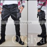 Biker Drop Crotch Side Pocket False Zippers Knee Side Leather Harem Pants