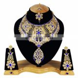 Bolllywood Designer Gold Plated Bollywood Party wear Jewelry Necklace Set Blue Color