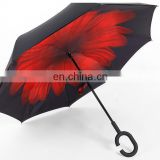 Double Layer open/close in the narrowest space ultraviolet-proof C-Handle reverse umbrella