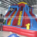2016 Hot sale inflateable dual slide combo, swimming pool hot tub combo