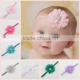 2015 new born baby chiffon elastic hairband headband flower accessories for babies MY-AD00017