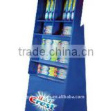 Custom Toothbrush Corrugated Cardboard Floor Dispay Rack, Spinner Cardboard Display With Hooks