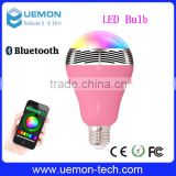 2016 UEMON colorful Wifi Led Bulb dimmable bluetooth speaker bulb with phone remote control.