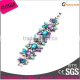 High Quality Gun Black Alloy With Colorful Glass Diamond Spring Bracelet