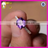 Top quality popular wholesale white gold latest wedding ring designs fashion natural 925 silver amethyst wedding ring